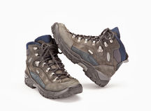 A pair of hiking boots. On white background Stock Photo