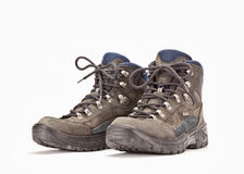 A pair of hiking boots. On white background Stock Images