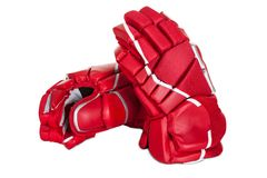 Pair of hockey gloves. Isolated on white background stock image