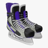 Pair of the Hockey ice skates for girls, isolated on a white. 3D illustration. Pair of the Hockey ice skates for girls, isolated on a white background. 3D Stock Photo