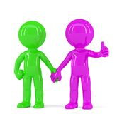 A pair of holding hands colorful people. Isolated. Contains clipping path Royalty Free Stock Photo