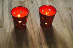 A pair of holiday candle lanterns Stock Photos