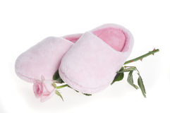 Pair of home pink slippers Royalty Free Stock Photography