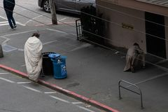 Pair of homeless men in seattle stock photography