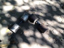 A pair of homemade dumbells royalty free stock photos