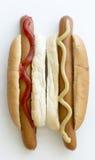 Pair Hot Dogs Close Up Royalty Free Stock Photos