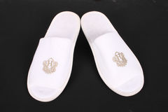 Pair of hotel slippers Stock Image