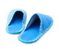 Pair of house slippers isolated over white background Stock Images