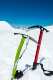 Pair of ice axes. Royalty Free Stock Photos