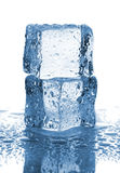 Pair of ice cubes with water drops Stock Images