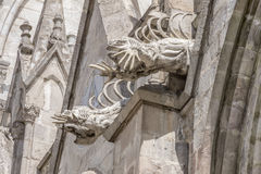 Pair of iguana gargoyles on the Basilica del Voto Nacional. In Quito in Ecuador Royalty Free Stock Photos