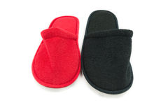 Pair of indoor slippers isolate background Royalty Free Stock Photography