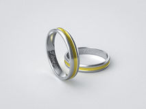 Pair of inscripted silver golden wedding rings Royalty Free Stock Image