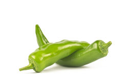 Pair of Jalapenos (Green Chilies). A pair of large size Jalapenos (Green Chilies) on white background Royalty Free Stock Images