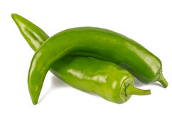 Pair of Jalapenos (Green Chilies). A pair of large size Jalapenos (Green Chilies) on white background Stock Image