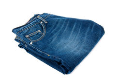 Pair of jeans. Pair of fancy blue washed jeans isolated on white Royalty Free Stock Photos