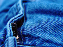 Pair of Jeans Closeup. Focus on the zipper Stock Images