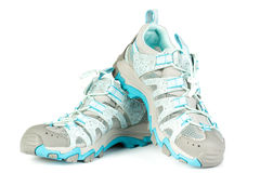 A pair of jogging shoes. On a white background stock photos