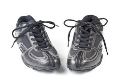 A pair jogging shoes. Black jogging shoes on a white background Stock Photo