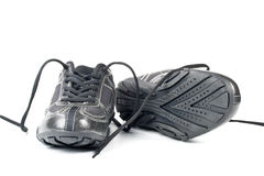 A pair jogging shoes. Black jogging shoes on a white background Royalty Free Stock Images