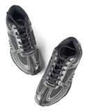 A pair jogging shoes. Black jogging shoes on a white background Royalty Free Stock Photos