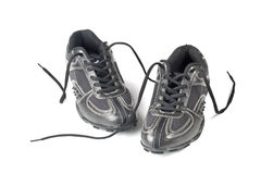 A pair jogging shoes. Black jogging shoes on a white background Royalty Free Stock Image