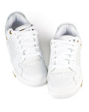 A pair jogging shoes. White jogging shoes on a white background Royalty Free Stock Image