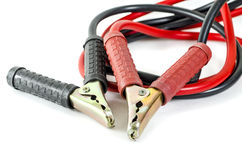 A pair of jumper cables :Clipping path included Stock Photos