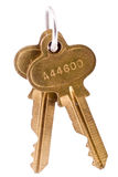 Pair of keys on a chain isolated on white Royalty Free Stock Photography