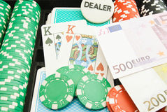 Pair of kings, euros and chips Stock Photo