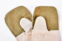 Pair of kitchen protective gloves. Royalty Free Stock Photography