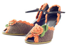 Pair of knitted shoes Stock Photography