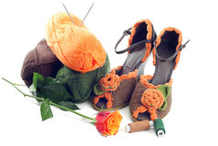 Pair of knitted shoes Stock Photos