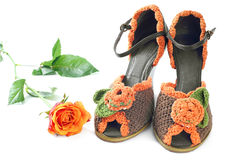 Pair of knitted shoes Royalty Free Stock Images