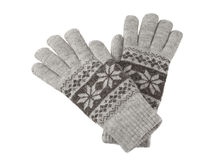 A pair of knitted winter gloves Stock Photos
