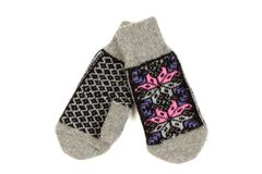 Pair of knitted woolen mittens. Isolate on white Stock Image