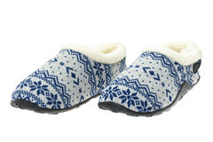 Pair of ladies fluffy patterned slippers Stock Photography