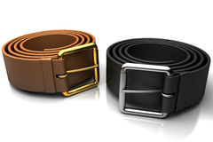 Pair of leather belts Royalty Free Stock Images