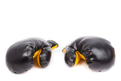 Pair of leather boxing gloves. Isolated on white Royalty Free Stock Photos