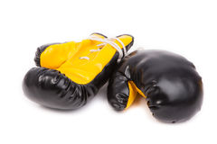 Pair of leather boxing gloves. Isolated on white Stock Image