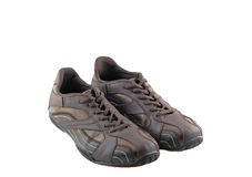 Pair of leather brown sneakers. Isolated Stock Photo