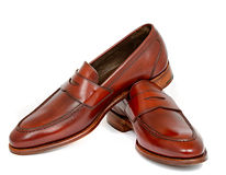 Pair of leather cherry calf penny loafer shoes together Royalty Free Stock Photo