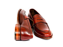 Pair of leather cherry calf penny loafer shoes together Royalty Free Stock Images