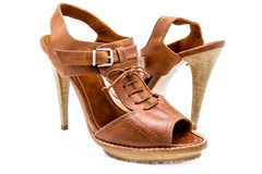 Brown women shoes Stock Image