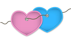 Pair of leather hearts Stock Images