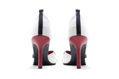 Pair of leather high heel shoes. From the back Royalty Free Stock Photos