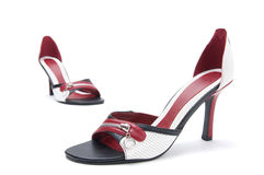 Pair of leather high heel shoes Stock Images
