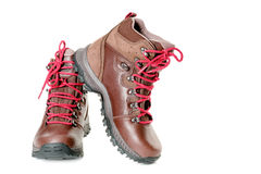 Pair of leather hiking boots isolated on white artistic horizont Stock Photo
