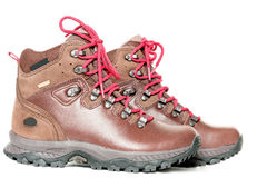 Pair of leather hiking boots on white side Royalty Free Stock Photo