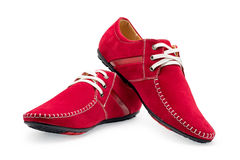 Pair leather red color male moccasins Royalty Free Stock Photography